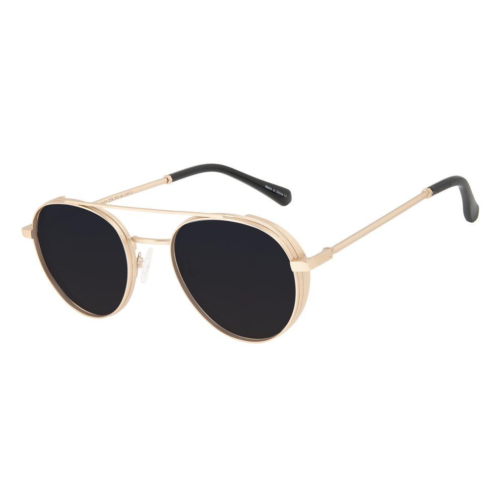 Óculos de Sol Unissex Alok Tech In Style Redondo Flap Dourado OC.MT.3112-0121