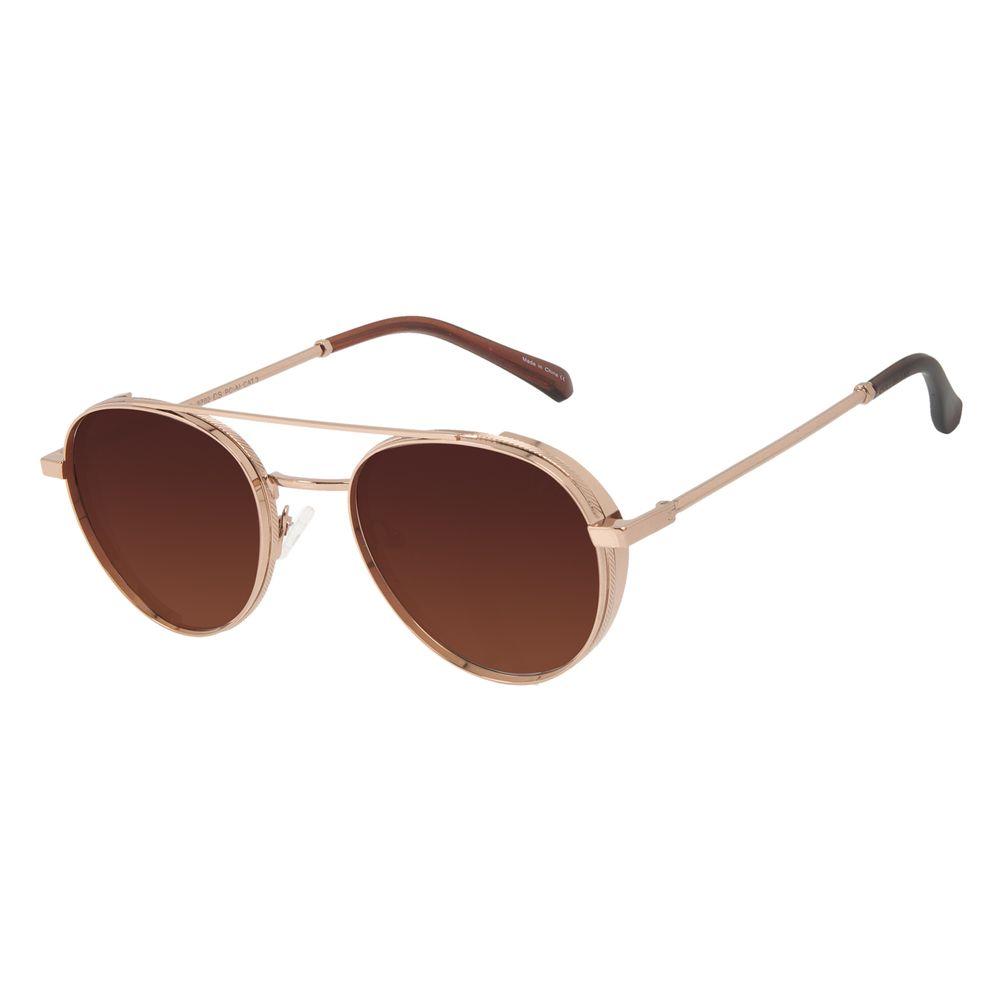 Óculos de Sol Unissex Alok Tech In Style Redondo Flap Degradê Marrom OC.MT.3112-5702