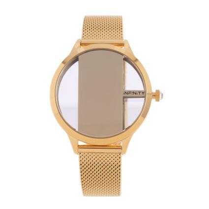 Relógio Digital Feminino Infinity Translúcido Metal Dourado RE.MT.1173-2121