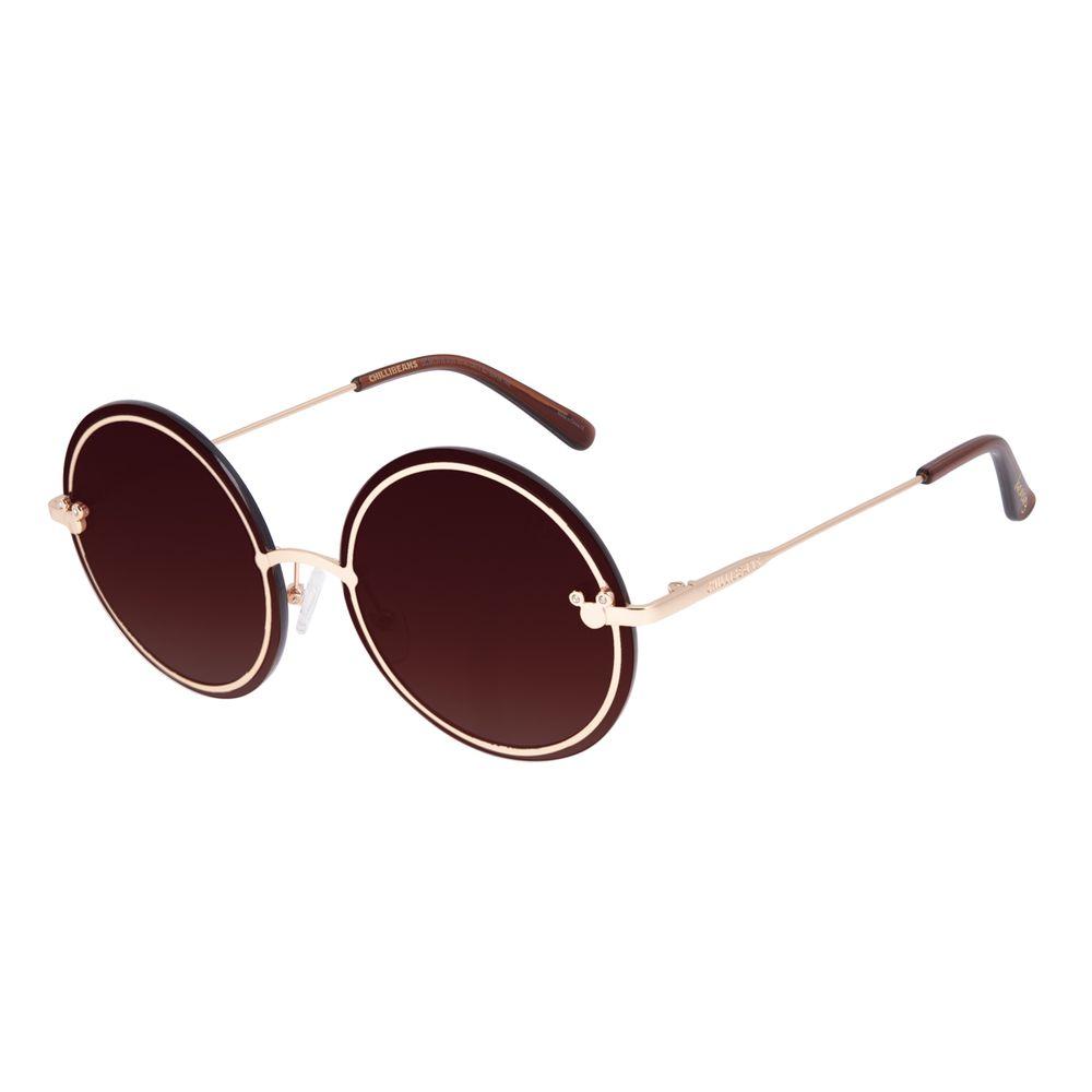 Óculos de Sol Feminino Minnie e Mickey Mouse Redondo Dourado OC.MT.3115-5721