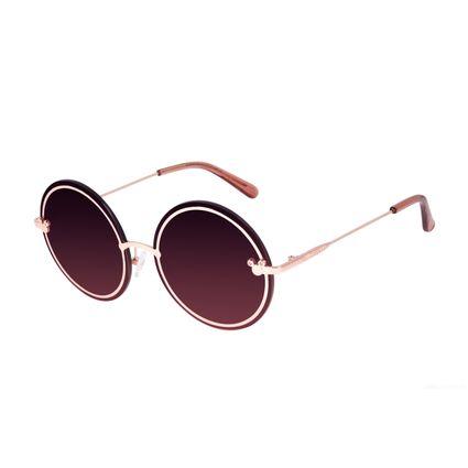 Óculos de Sol Feminino Minnie e Mickey Mouse Redondo Rosé OC.MT.3115-9595