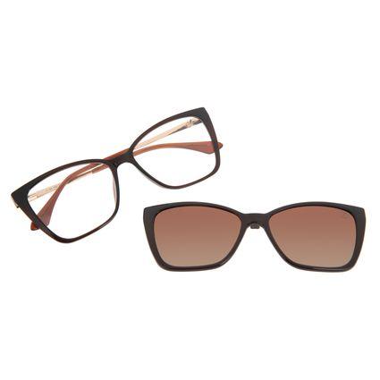 Armação Para Óculos de Grau Feminina Chilli Beans Multi Cat Polarizada Marrom LV.MU.0559-0202