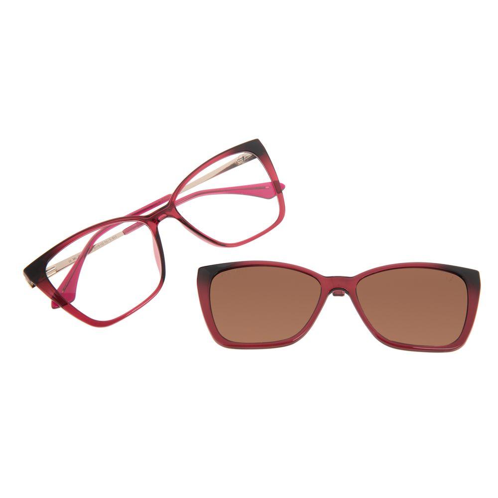 Armação Para Óculos de Grau Feminina Chilli Beans Multi Cat Polarizada Vinho LV.MU.0559-0217