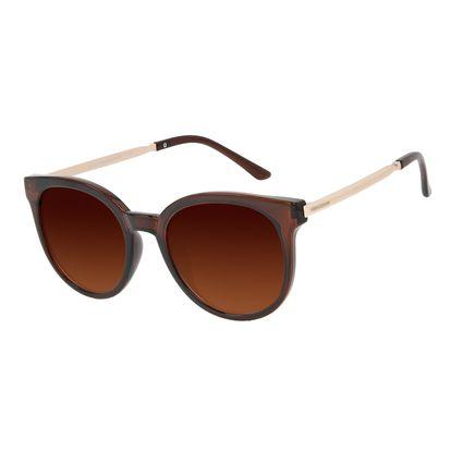 Óculos de Sol Feminino Chilli Beans Clássico Redondo Marrom OC.CL.3384-0202