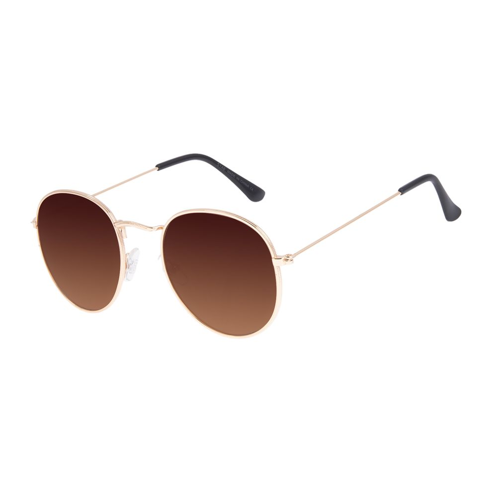 Óculos de Sol Unissex Chilli Beans Redondo Casual Marrom OC.MT.3087-0221
