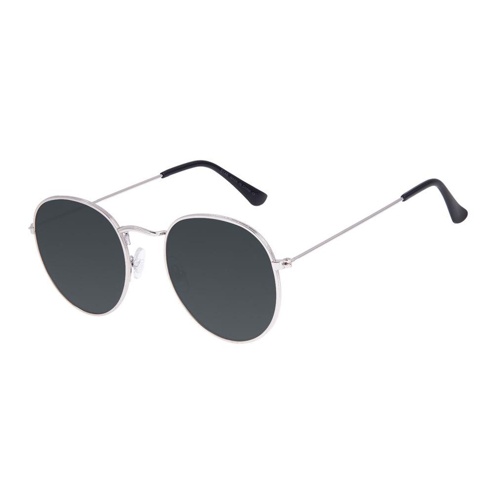 Óculos de Sol Unissex Chilli Beans Redondo Casual Prata OC.MT.3087-1507