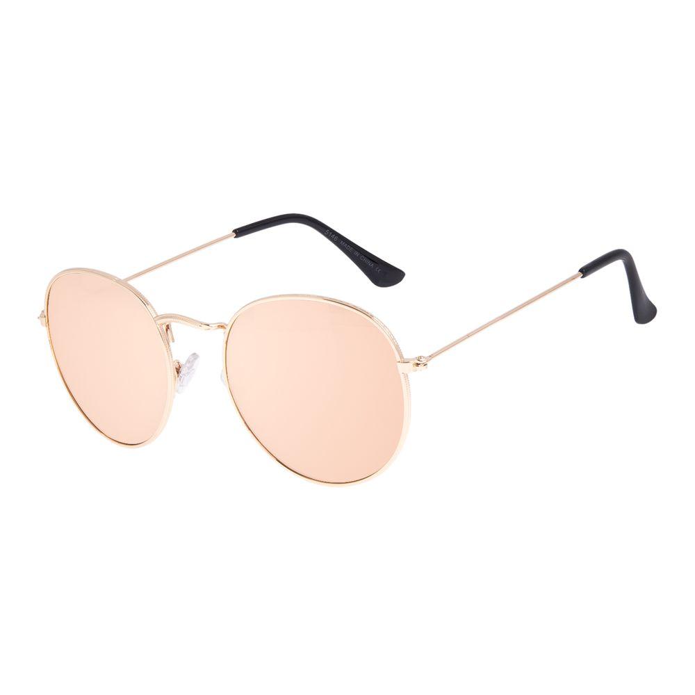 Óculos de Sol Unissex Chilli Beans Redondo Casual Dourado OC.MT.3087-1621