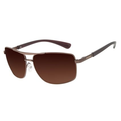 Óculos de Sol Masculino Chilli Beans Executivo Metal Brilho Marrom OC.MT.3208-0202