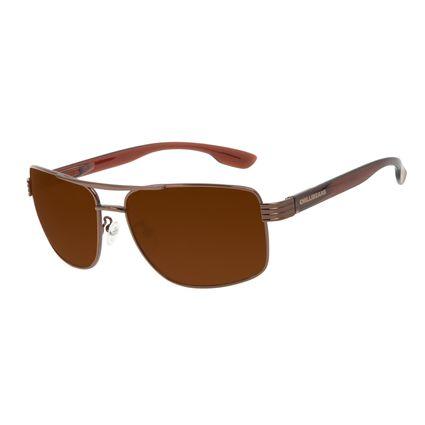 Óculos de Sol Masculino Chilli Beans Executivo Inox Brilho Marrom OC.MT.3206-0202