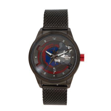 Relógio Analógico Masculino Marvel Capitão América Metal Ônix RE.MT.1207-2222