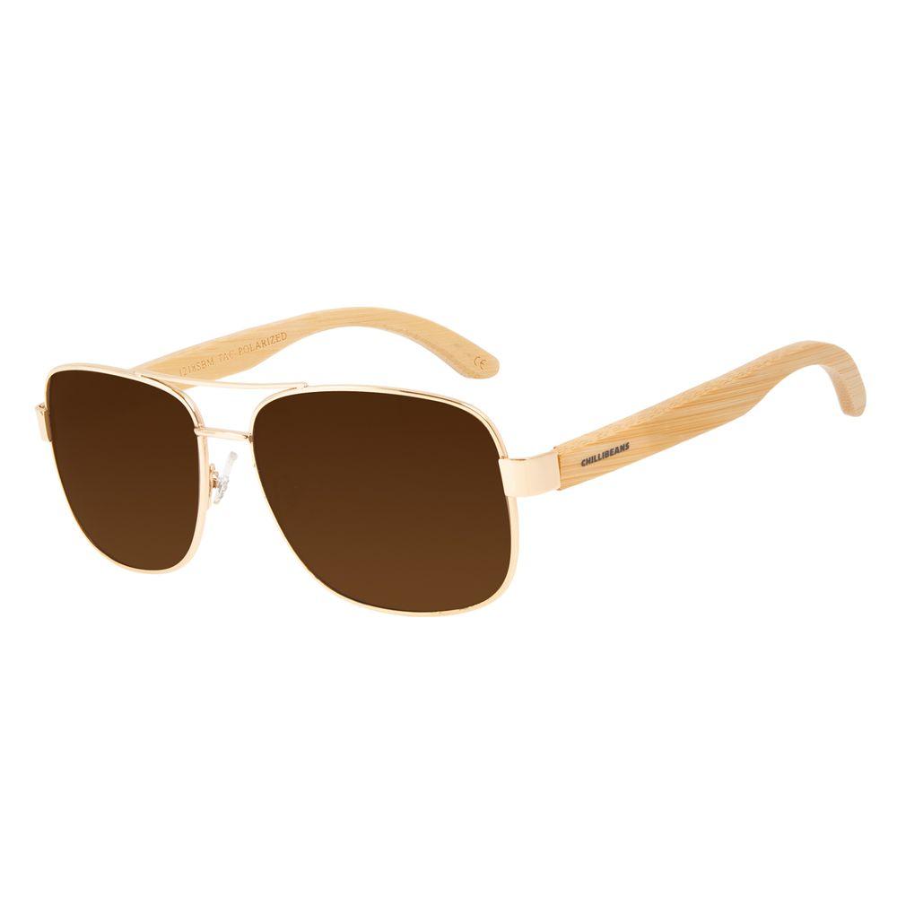 Óculos de Sol Masculino Chilli Beans Bamboo Executivo Polarizado Dourado OC.MT.3093-0221
