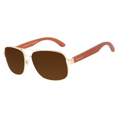 Óculos de Sol Masculino Chilli Beans Bamboo Executivo Polarizado Marrom Claro OC.MT.3093-8821