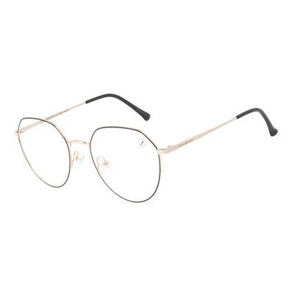 Armação Para Óculos de Grau Unissex Chilli Beans Metal Fosco Dourado LV.MT.0504-0121