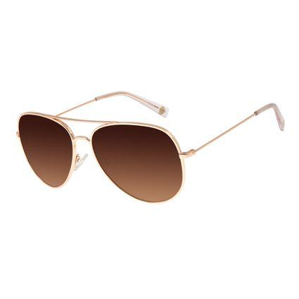 Óculos de Sol Unissex Chilli Beans Aviador Casual Dourado OC.MT.3101-5795