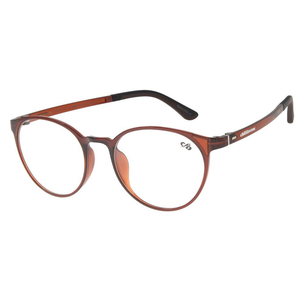Armação Para Óculos de Grau Unissex Chilli Beans Redondo Casual Marrom LV.IJ.0213-0202