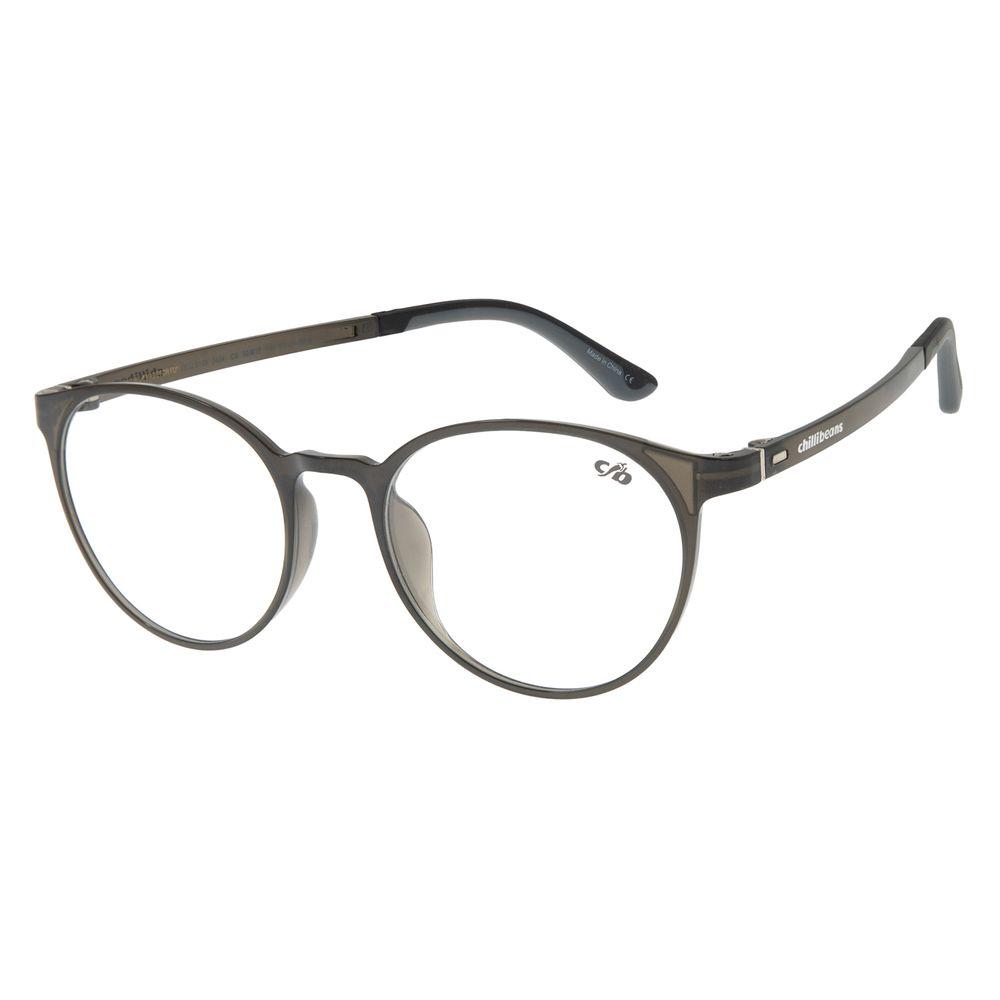 Armação Para Óculos de Grau Unissex Chilli Beans Redondo Casual Cinza LV.IJ.0213-0404