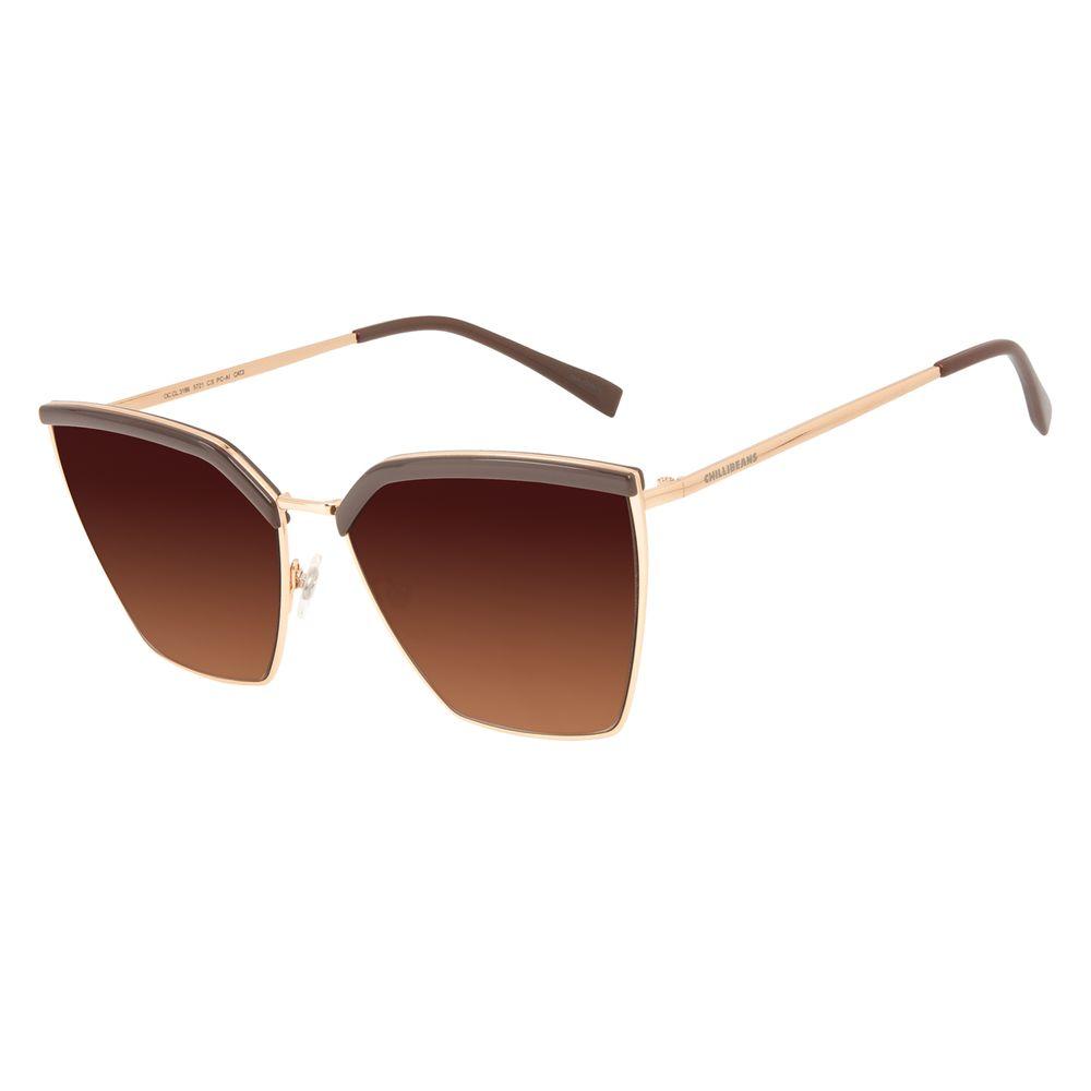 Óculos de Sol Feminino Chilli Beans Quadrado Clássico Dourado OC.CL.3186-5721