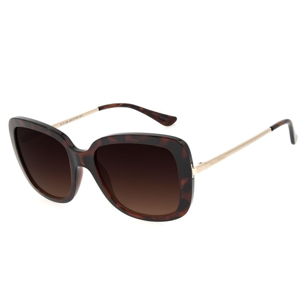 Óculos de Sol Feminino Chilli Beans Quadrado Max Marrom OC.CL.3258-2002