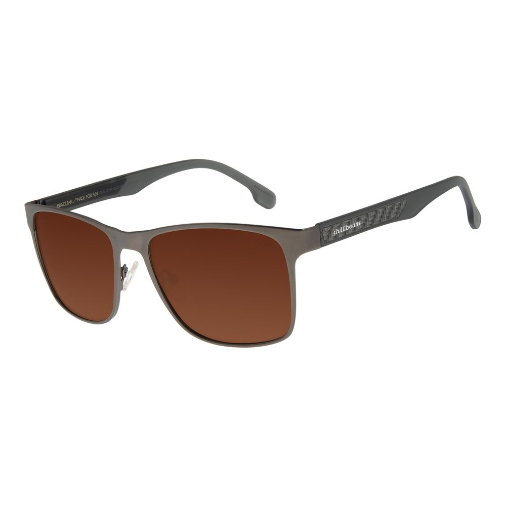 Óculos de Sol Masculino Chilli Beans Executivo Polarizado Metal Ônix OC.MT.3072-0222