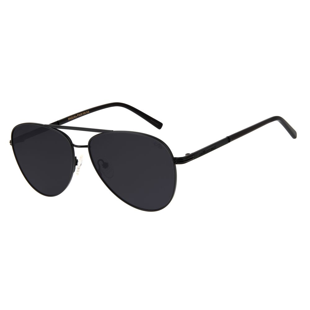 Óculos de Sol Unissex Aviador Chilli Beans Polarizado Metal Fosco Preto OC.MT.3080-0501