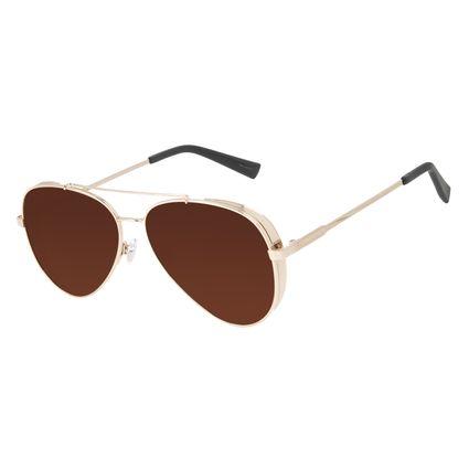 Óculos de Sol Unissex Chilli Beans Aviador Flap Metal Dourado OC.MT.3134-0221
