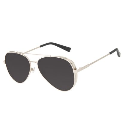 Óculos de Sol Unissex Chilli Beans Aviador Flap Metal Prata OC.MT.3134-3207