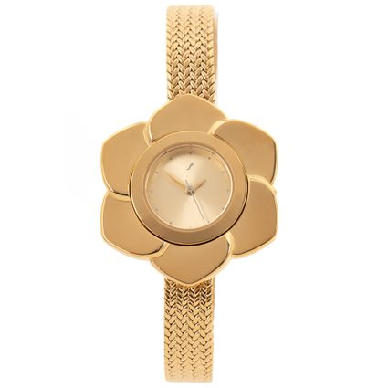 Relógio Analógico Feminino Mãe Natureza Flower Dourado RE.MT.1090-2121