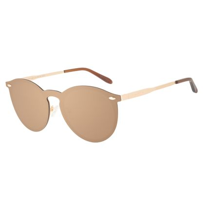 Óculos de Sol Unissex Chilli Beans Redondo Níquel Dourado OC.MT.3047-0221