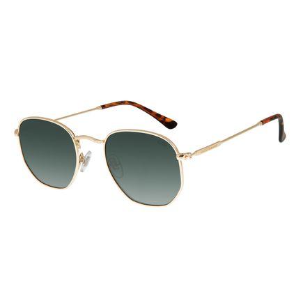 Óculos de Sol Unissex Chilli Beans Quadrado Hexagonal Dourado OC.MT.3076-2021