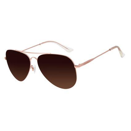 Óculos de Sol Unissex Chilli Beans Aviador Metal Brilho Degradê Marrom OC.MT.3132-5795