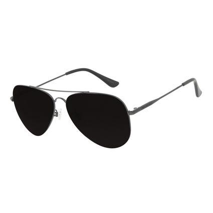 Óculos de Sol Unissex Chilli Beans Aviador Metal Brilho Preto OC.MT.3132-0101