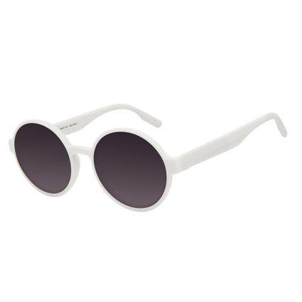 Óculos de Sol Feminino Eco Tecido Celular Redondo Branco OC.CL.3276-2019
