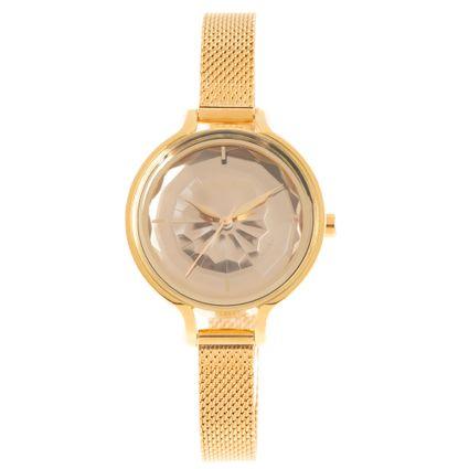 Relógio Analógico Feminino Chilli Beans Crystal Facetado 3D Dourado RE.MT.1203-2121