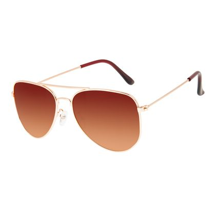 Óculos de Sol Unissex Chilli Beans Aviador Metal Dourado Polarizado OC.MT.3216-5721