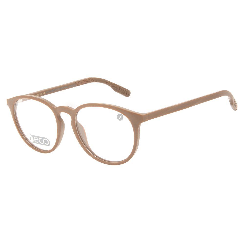Armação Para Óculos de Grau Masculino Eco Falésias Redondo Marrom LV.IJ.0195-4747