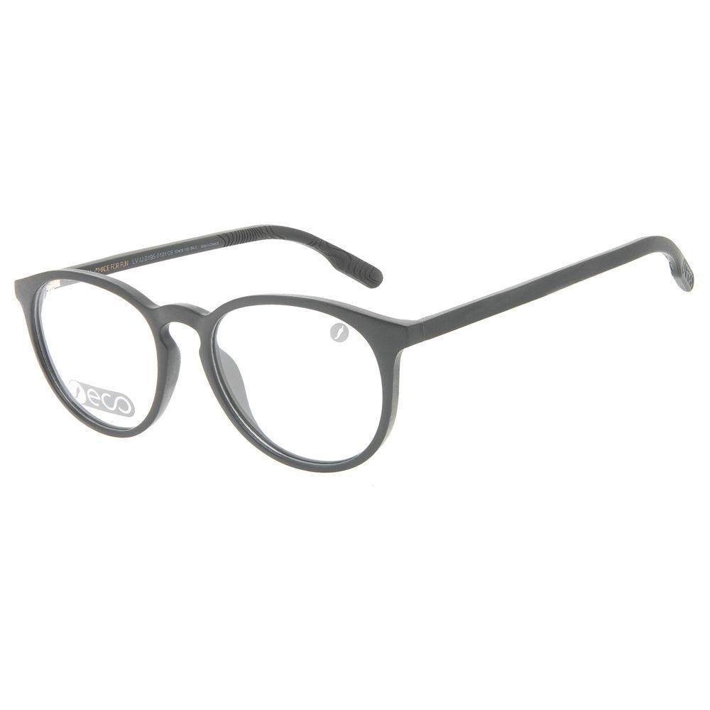 Armação Para Óculos de Grau Masculino Eco Redondo Preto LV.IJ.0195-0101