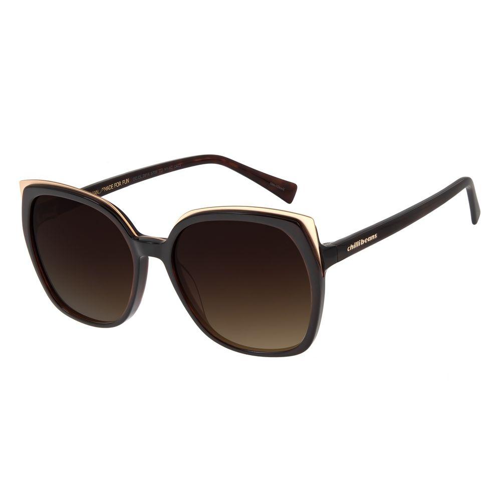 Óculos de Sol Feminino Chilli Beans Quadrado Maxi Retro Tartaruga OC.CL.3246-5706