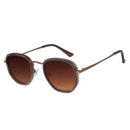 Óculos de Sol Masculino Chilli Beans Hexagonal Metal Marrom Escuro OC.MT.3077-5747