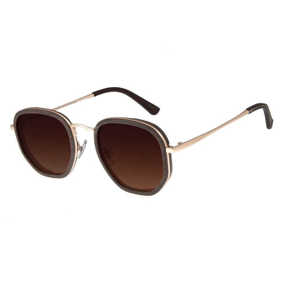 Óculos de Sol Masculino Chilli Beans Hexagonal Metal Marrom OC.MT.3077-5702