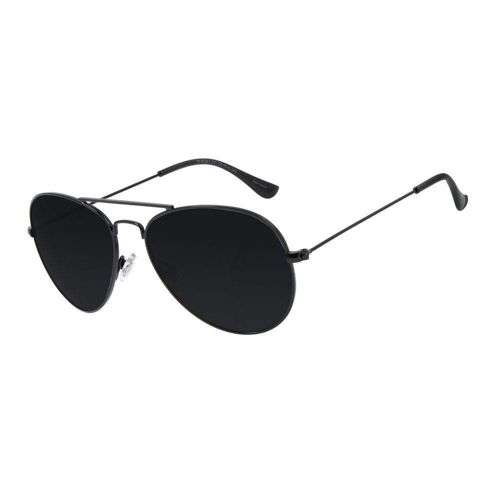 Óculos de Sol Unissex Chilli Beans Essential Aviador Metal Brilho Preto OC.MT.3078-0101