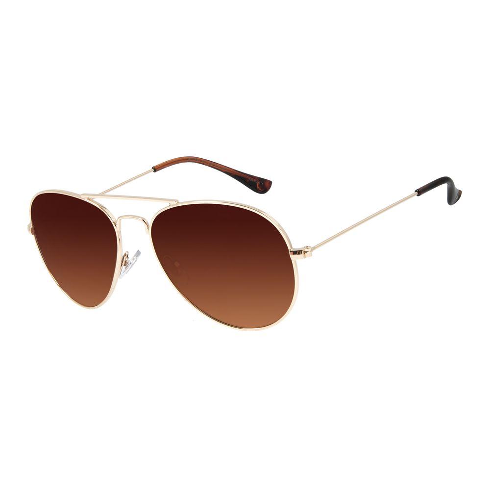 Óculos de Sol Unissex Chilli Beans Aviador Metal Brilho Dourado OC.MT.3078-5721