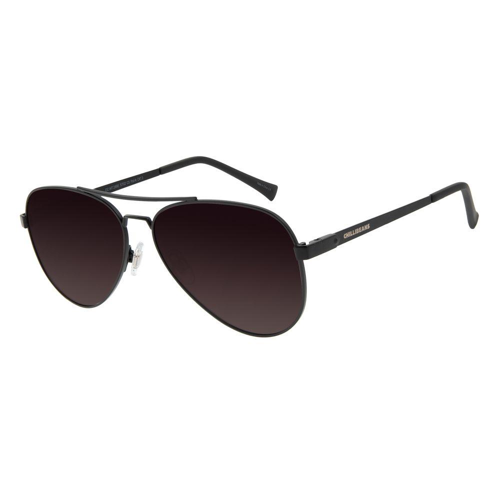 Óculos de Sol Unissex Chilli Beans Essential Aviador Polarizado MT Marrom OC.MT.3133-5702