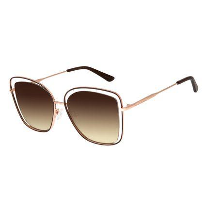 Óculos de Sol Feminino Chilli Beans Quadrado Banhado A Ouro Marrom Escuro OC.MT.3143-2047