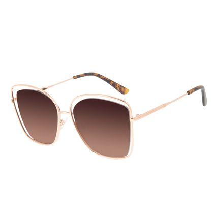 Óculos de Sol Feminino Chilli Beans Quadrado Banhado A Ouro Degradê Marrom OC.MT.3143-5795