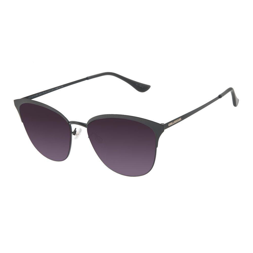 Óculos de Sol Feminino Chilli Beans Quadrado Fosco Preto OC.MT.3148-2001