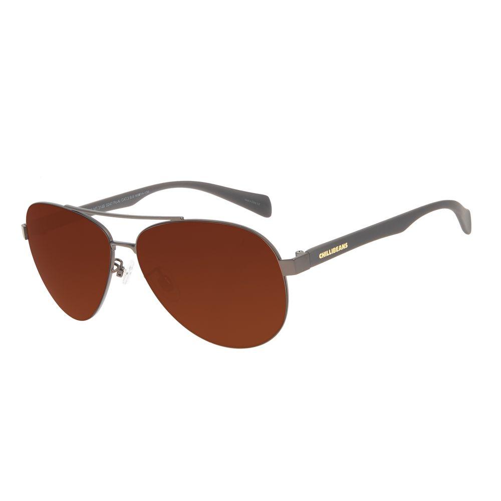 Óculos de Sol Masculino Chilli Beans Aviador Classic MT Marrom Escuro OC.MT.3149-0247