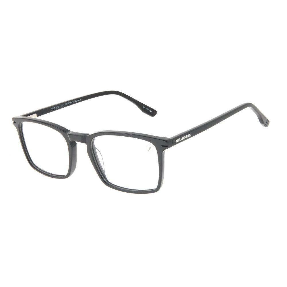 Armação Para Óculos de Grau Masculino Chilli Beans Quadrado Casual AC Preto LV.AC.0708-0101