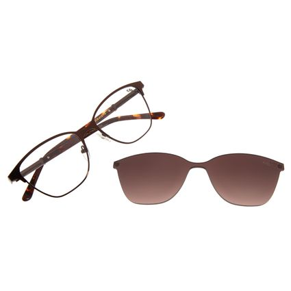 Armação Para Óculos de Grau Feminino Chilli Beans Multi 2 Em 1 Cat Metal Marrom LV.MU.0551-5702