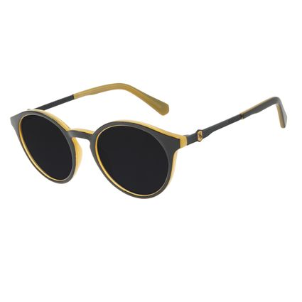 Óculos de Sol Unissex Harry Potter Hufflepuff Redondo Preto OC.CL.3344-0101