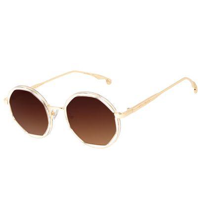 Óculos de Sol Feminino Harry Potter Pomo de Ouro Redondo Transparent Dourado OC.MT.3213-0221